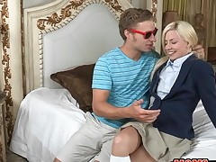 Alluring older and juvenile playgirl acquire their twats drilled wildly